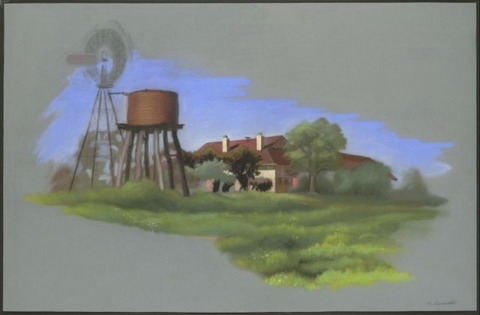 Colour sketch showing a windmill rising above a water tank and tower at left. A dwelling with two chimneys is partially obscured by trees. Green grass is abundant in the foreground, with a blue sky behind.