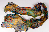 Jacki Huggins' multi-coloured scarf.