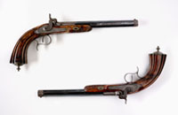 Detail of Mitchell duelling pistols