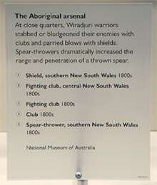 An image of the text panel 'The Aboriginal arsenal'.