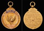 Front and back of a gold coloured circular medal