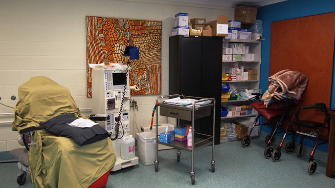 A dialysis treatment room.