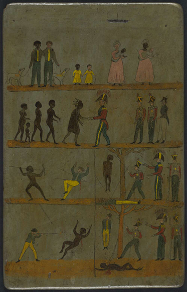A poster without text showing in muted colours six scenarios. The first two are of European and Aboriginal men, women and children mingling amicably. The last four show that if an Aboriginal man spears a European he will be hanged, and that if a European man shoots an Aboriginal he too will be hanged