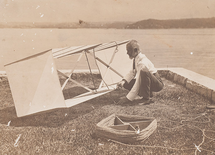 Lawrence Hargrave working on a box kite