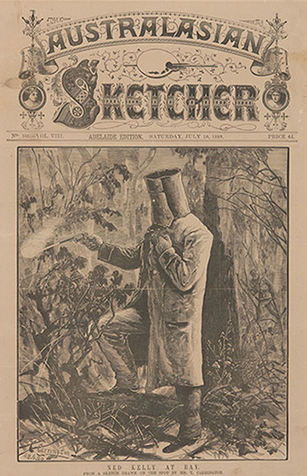 newspaper with elaborate masthead. There is no text; just the woodcut image of Kelly firing his revolver