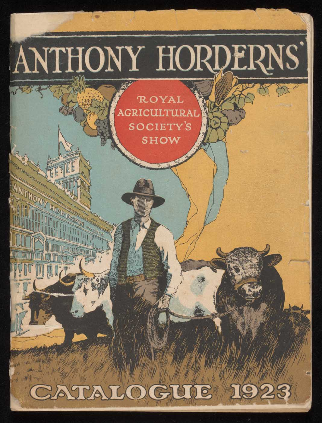 Catalogue cover showing a farmer with cattle in the foreground and Horderns store in the background. - click to view larger image