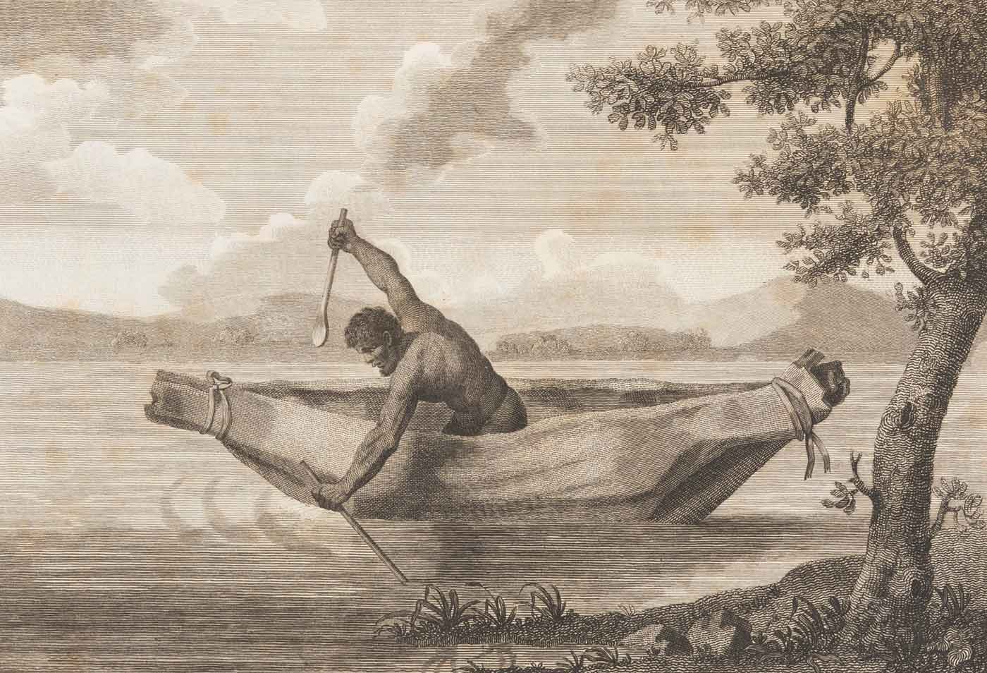 Engraving featuring a man in a canoe, leaning over the side with a spear poised above his right arm. - click to view larger image