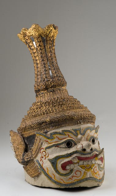 One of approximately 70 headdress found in the collection and worn by performers to entertain the King during ceremonies and celebrations.
