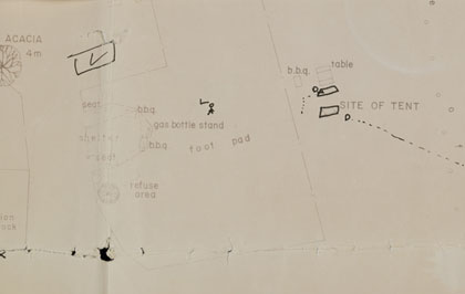 Map with typed campsite details, including 'bbq' and 'site of tent', with hand drawn figure and tent image.