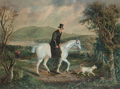 Painting of Reverend Robert Knopwood riding a white horse and accompanied by a white dog.