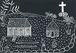'Coming of the Light', 2006, linocut print by Sedey Stephen, Erub (Darnley Island), ink on paper. National Museum of Australia.