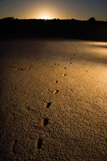 Human footprints leading to silhouetted hills in the distance.