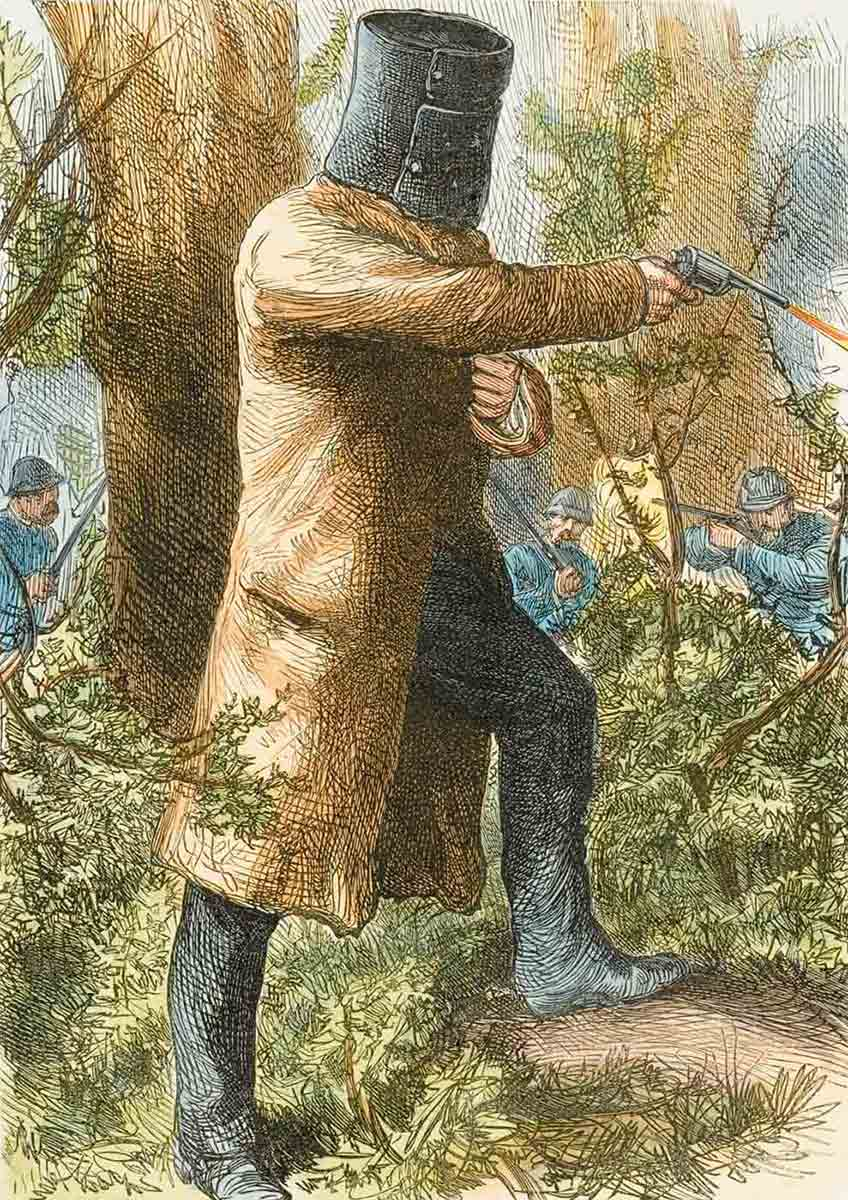 Colour image of Ned Kelly wearing his metal helmet and a long coat. He is a firing a revolver. In the background police are taking aim at him with rifles. - click to view larger image