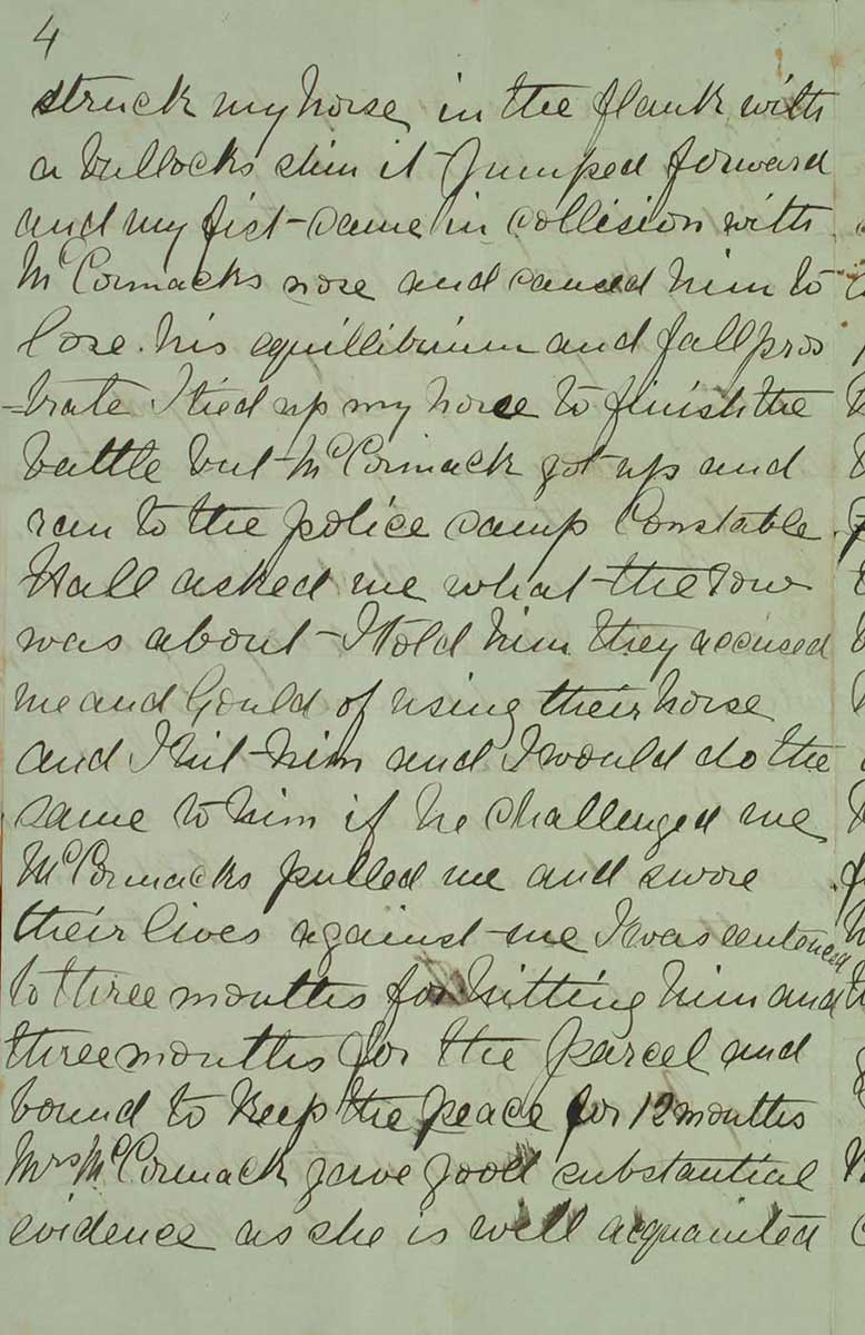 Page four of Ned Kelly's Jerilderie letter. - click to view larger image