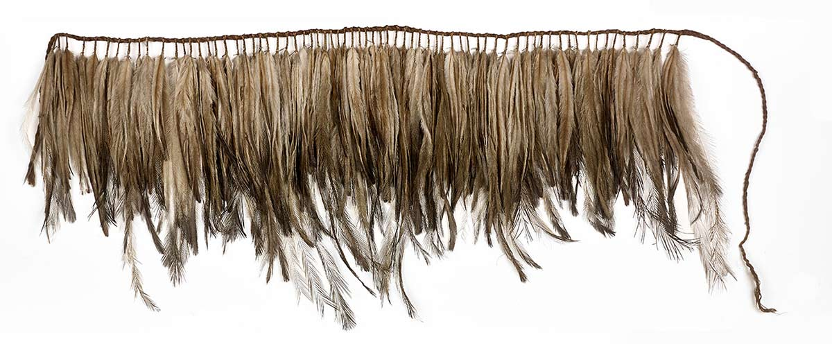 A short apron made from one hundred and twenty nine small bunches of feathers, held together at their quill ends with fibre and then wrapped around a fibre suspension cord.