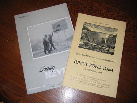 Covers of two publications. Left: Snowy Review, House Magazine of the Snowy Mountains, Winter 1963. Right: Official ceremony marking the completion of Tumut Pond Dam, 13th September, 1958.