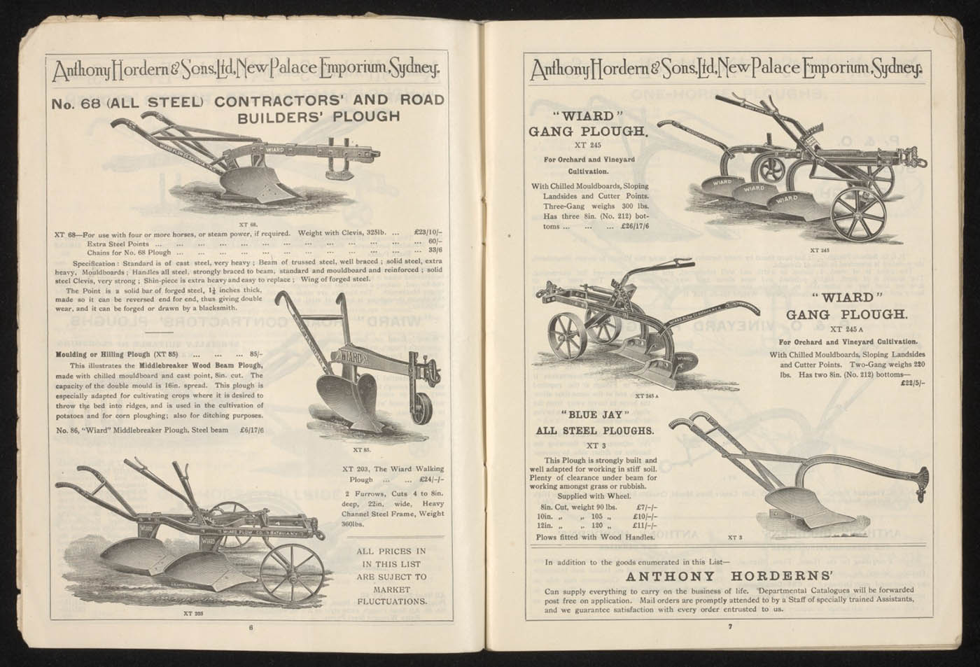 Anthony Hordern's store catalogue, 1923, pages 6 and 7 - click to view larger image