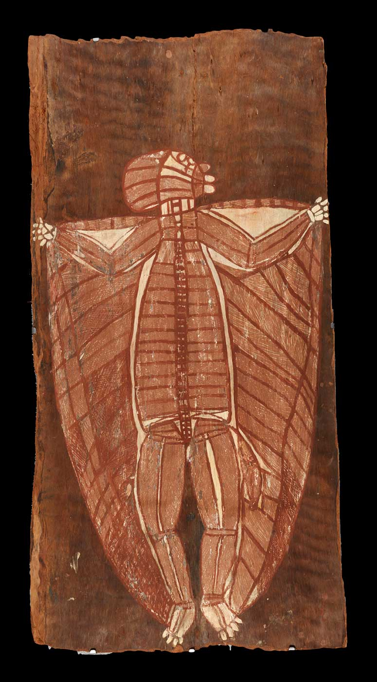 Bark painting depicting a spirit being known as Warraguk. - click to view larger image
