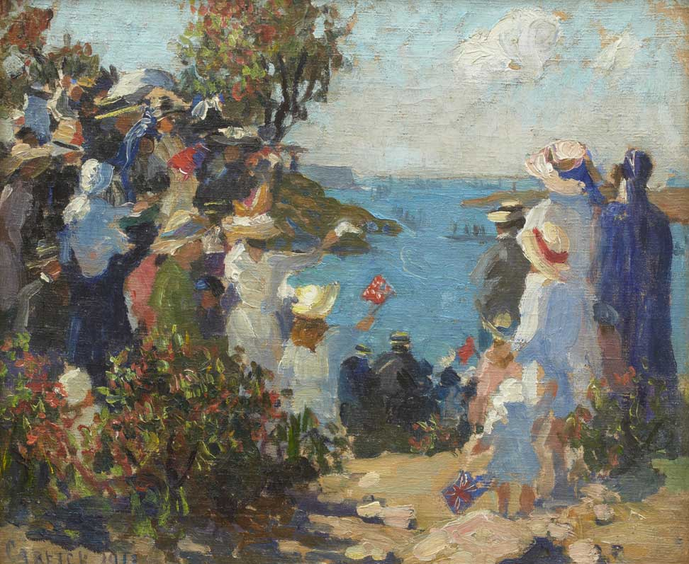 Oil painting showing a group of people on a headland, cheering on a navy ship, afloat in the distance.