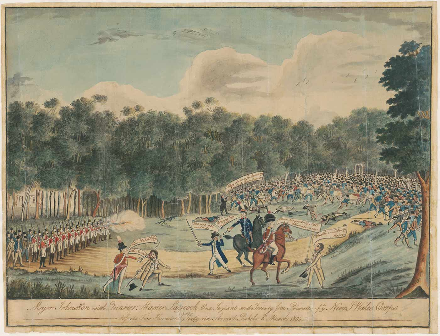A colour print of two men on horseback leading a group of colonial troopers firing guns (left). One of the men on horseback points a gun at a civilian holding a sword. Many civilians are seen on the right, most carrying weapons - click to view larger image