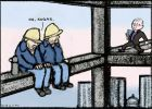 Cartoon of two construction workers sitting on a beam high up on a building site as Kevin Rudd, dressed as a preacher, approaches.