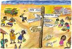 Cartoon depicting various scenes in a remote Indigenous community, with a sign post indicating prospects for education, career, jobs and hope being thousands of kilometres away, but the wet canteen only 50 metres away.