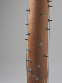 A section of bamboo tube with metal screws and guitar strings attached.