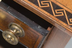 Detail showing part of First Fleet table drawer and two-tone tulipwood inlay.