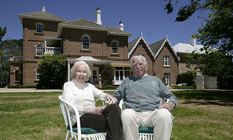 Jim and Pamela Maple-Brown sitting outside the main Springfield homestead