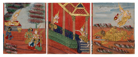 Three panels with richly coloured and detailed illustrations.