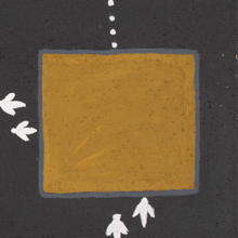 Painting of a large yellow square in a dark grey background with tracks on the left and bottom.