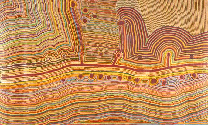 Martumili Ngurra (This is all Martu's home) 2009 by Kumpaya Girgaba, Jakayu Biljabu, Ngamaru Bidu, Thelma Judson, Ngalangka Nola Taylor and Jane Girgaba, Martumili Artists, Parnngurr, Western Australia