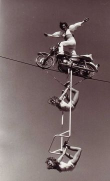 Acrobats on a high wire.
