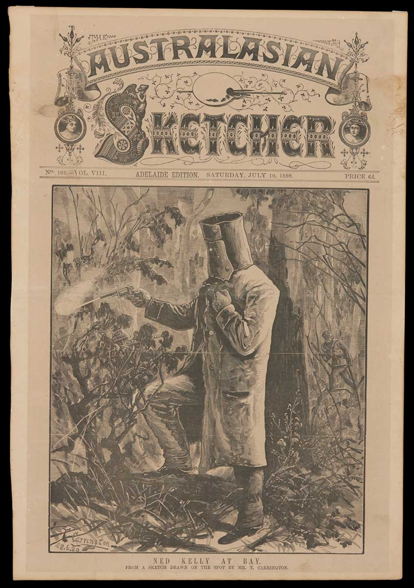 Black and white newsprint cover showing Ned Kelly in armour, firing a revolver. - click to view larger image