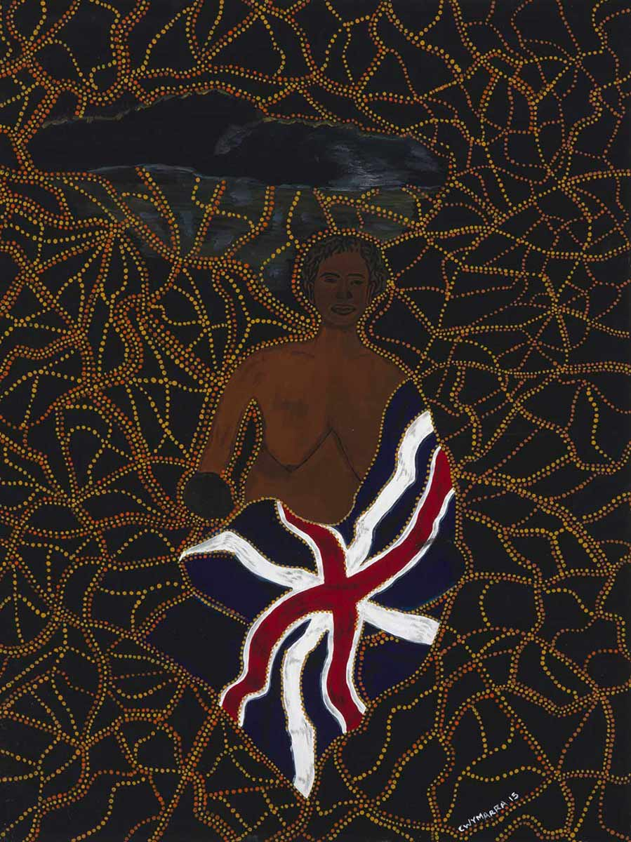 A painting in acrylic and ochre on canvas, depicting an Australian Aboriginal woman wrapped in the Union Jack flag. The background is painted black, over painted with dotted lines in yellow and orange - click to view larger image