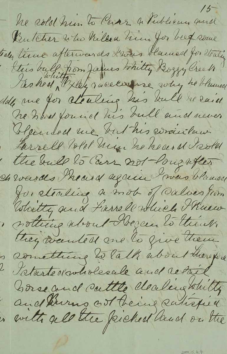 Page fifteen of Ned Kelly's Jerilderie letter. - click to view larger image