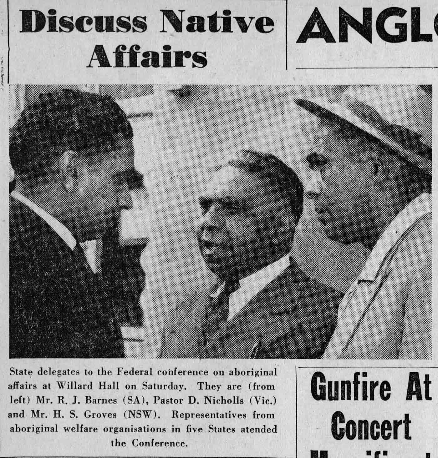 Newspaper clipping of three men in business suits in discussion. The text above reads: Discuss Native Affairs. - click to view larger image