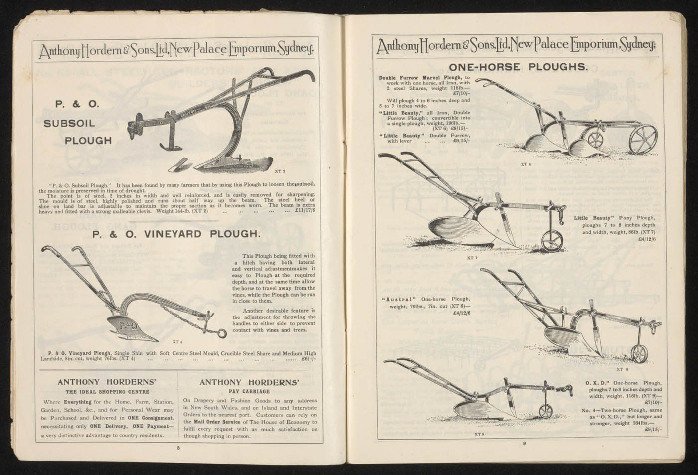 Anthony Hordern's store catalogue, 1923, pages 8 and 9 - click to view larger image