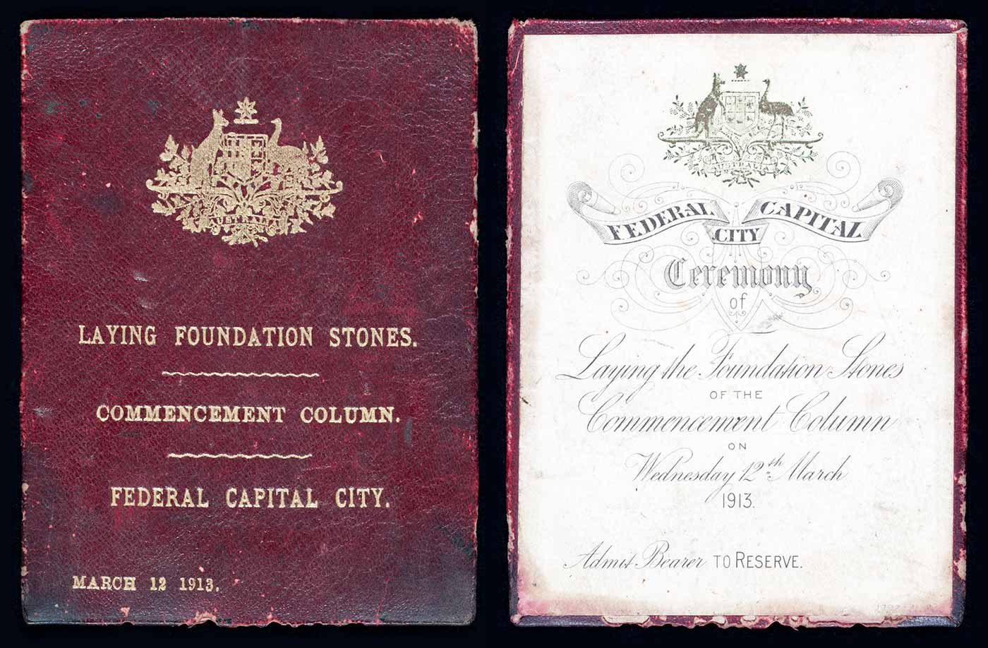 Official ticket and booklet for the Canberra's naming ceremony. The maroon-coloured cover, left, has the Australian coat of arms at top.