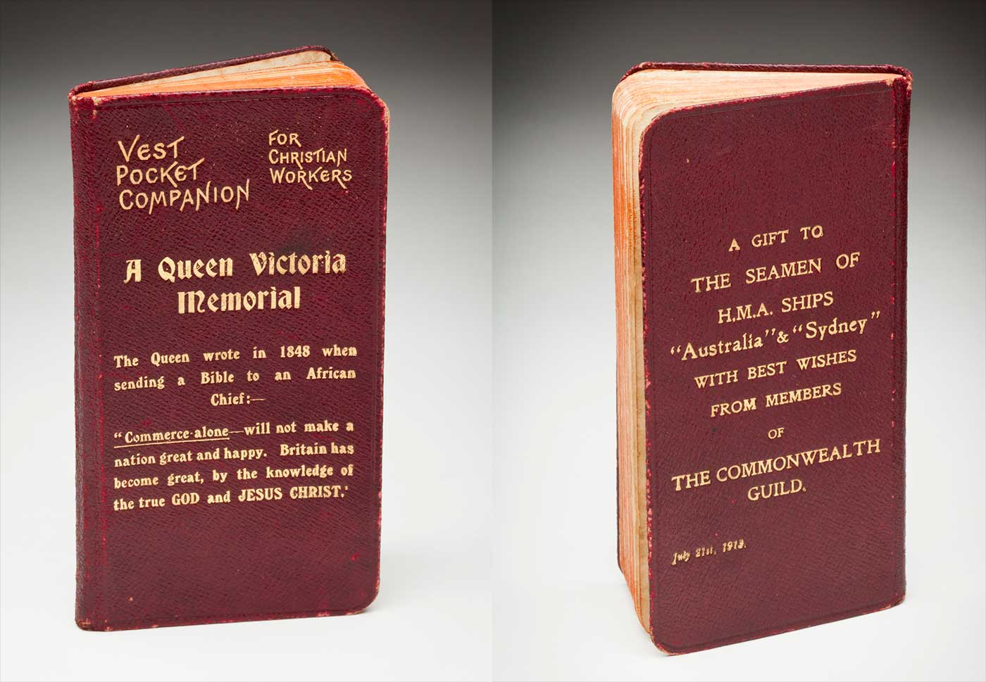 Front and back cover of a small 'VEST POCKET COMPANION FOR CHRISTIAN WORKERS' book, with a red cover, and gold writing. - click to view larger image