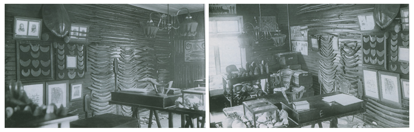 Two views of Edmund Milne's collection room housing his ethnographic collections.