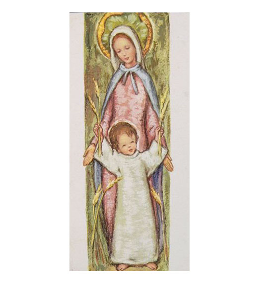 A white card with a colour printed image of the Virgin Mary standing behind a young child who wears a white robe and holds wheat in each extended hand. - click to view larger image