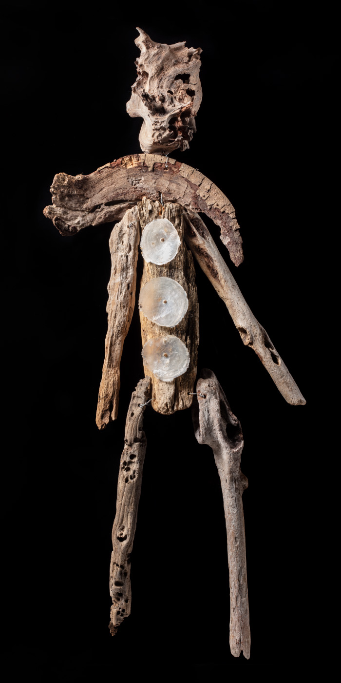 Artwork made from driftwood, pearl shell and galvanised wire. - click to view larger image