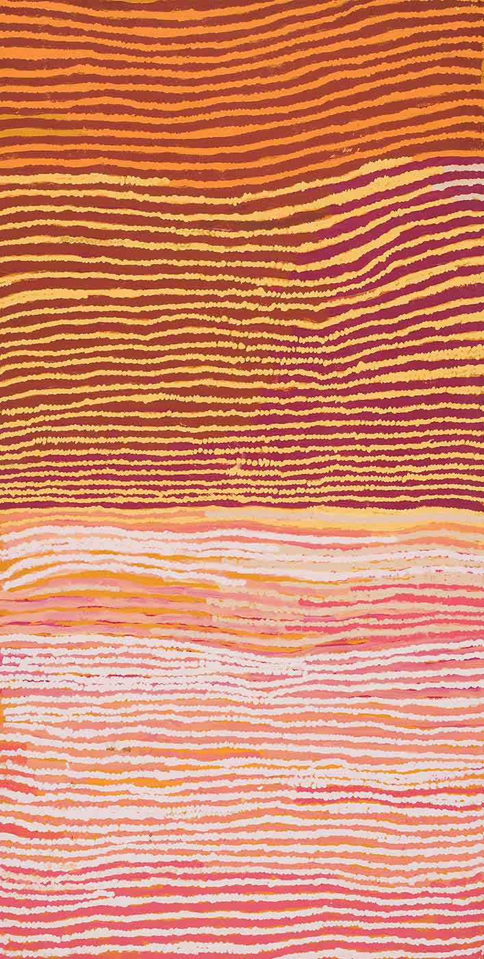 A long rectangular painting on brown linen of slightly wavy horizontal stripes. The top half of the painting has brown alternating with orange, yellow and cream stripes and the bottom half has pale pink stripes alternating with pink, beige and yellow stripes. - click to view larger image