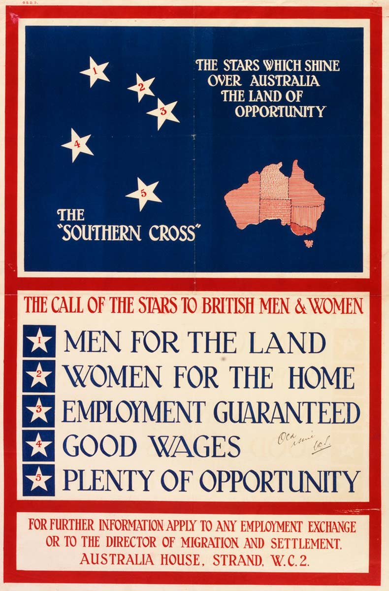 Poster promoting Australia for settlement 1920s featuring the Southern Cross. - click to view larger image