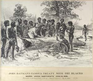 Illustration of John Batman signing a treaty with Aboriginal people.