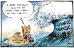 Cartoon of John Howard on a floating throne at the beach with a sack labelled, 'Taxpayer funded advertising budget' bobbing beside him  saying, 'I want everybody to know I'm no Johnny-come-lately on this subject'. A giant tsunami-like wave labelled 'Climate change' is about to break on him.