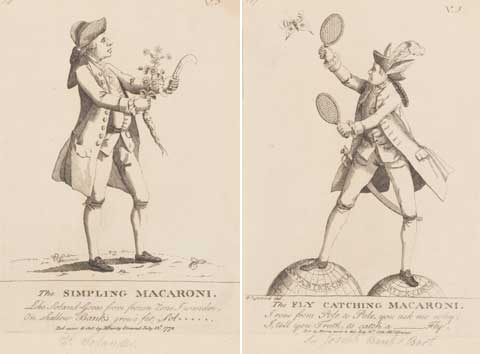 Two cartoons, published in 1772, mocking Banks and Solander for being fashionable fops.