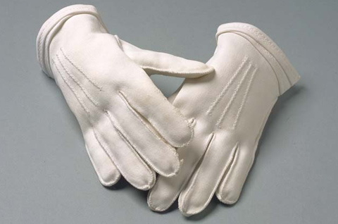 A pair of white gloves.