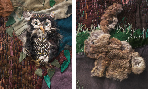 Detail from the Little Red Riding Hood wall-haning depicting an owl and rabbit made fur and a variety of other fabrics including felt.